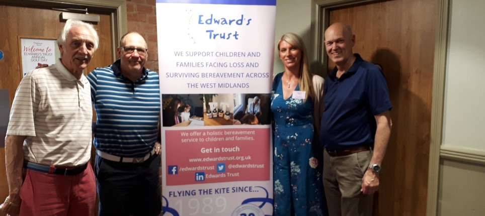 Neal with his team and Edward's Trust fundraiser Lucy at a charity Golf Day